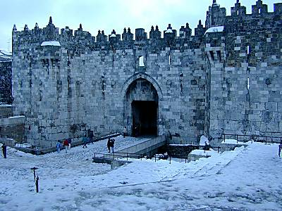 Damascus Gate with snow