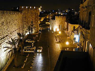 Jaffa Gate at night