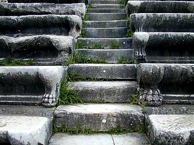 Miletus theater stairs with paw decoration