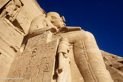 Ramses II's statue from below