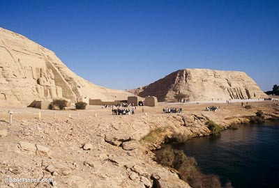 Abu Simbel temples on edge of Lake Nasser