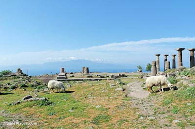 Assos Temple of Athena with island of Lesbos