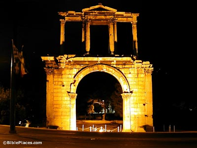 Athens Hadrian's Arch at night