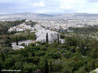 Athens Mars Hill from acropolis