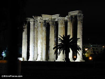 Athens Temple of Zeus at night