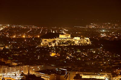 Athens and acropolis at night from northeast
