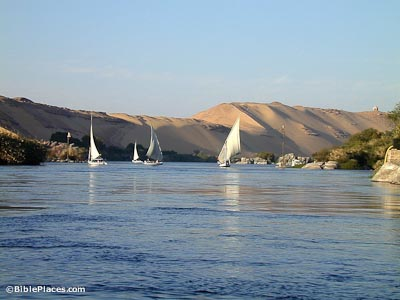 Feluccas on Nile River in Aswan