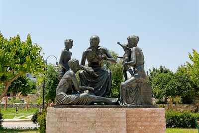 Hippocrates with students, statue in Cos