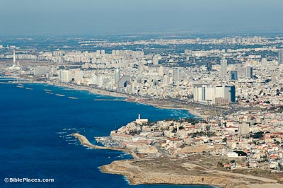 Joppa and Tel Aviv aerial from southwest