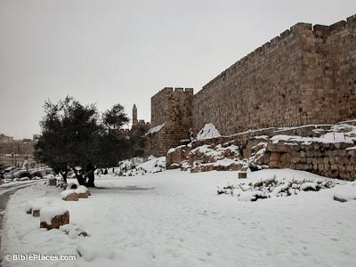 Western wall of Old City with snow