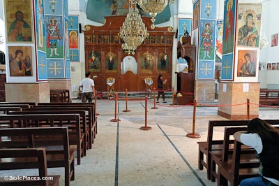 St. George's Church interior, location of Medeba Map