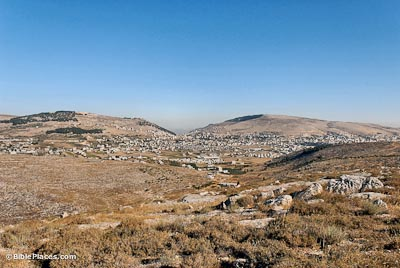Mount Gerizim, Shechem, Mount Ebal from east