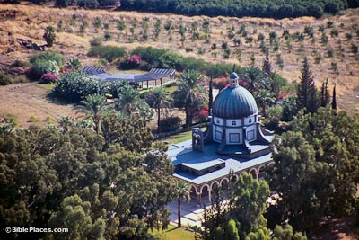 Mount of Beatitudes chapel from air