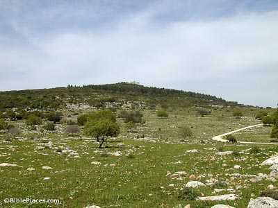 Muhraqa on Mount Carmel from south