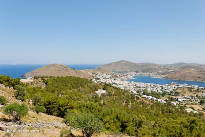 Patmos acropolis and Skala harbor from south