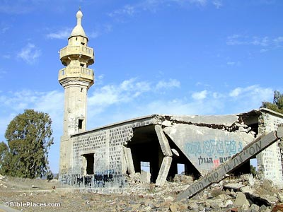 Syrian abandoned mosque on Golan Heights