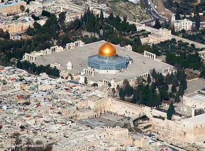 Temple Mount and Western Wall aerial from southwest