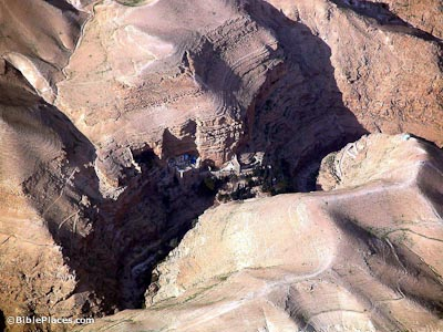 Wadi Qilt and St. George's Monatery aerial from south