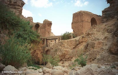 Wadi Qilt with Roman and modern aqueducts