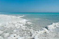 Dead Sea shoreline with salt crystals