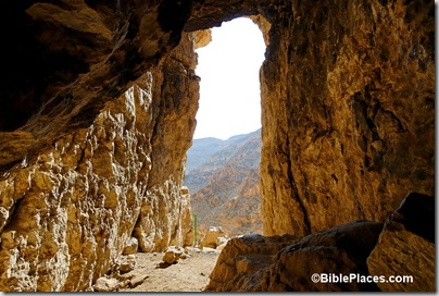 Wadi Murabaat, Bar Kochba cave, view from interior, tb021107619