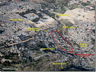 Aerial view of City of David, tb010703 givati parking diagram
