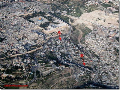 Temple Mount and City of David aerial from sw, tb q010703