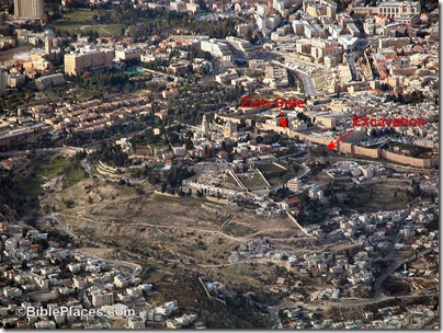 Mt Zion and Hinnom Valley aerial from se, tb010703