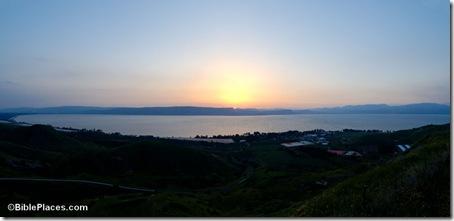 Sea of Galilee sunset from Hippos panorama, tb032807888
