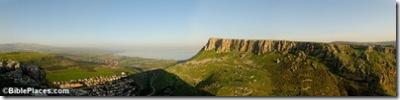 Sea of Galilee and Arbel cliffs panorama, tb0221007888sr