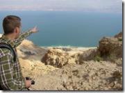 Todd pointing over Dead Sea, tt021603
