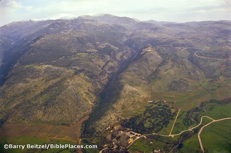 Mount Hermon and Caesarea Philippi aerial