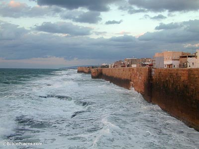 City walls jutting out of the Mediterranean Sea.