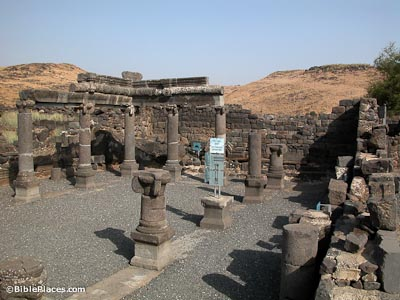 The half-preserved walls of a rectangular basalt structure with several full standing and some partial columns and some brown hills in the background