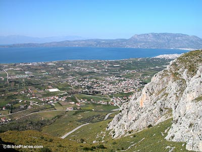 Corinth Area with Cenchrea, harbor, canal (BiblePlaces.com)