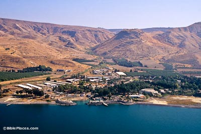 View from airplane over the Sea of Galilee looking toward the shore, where buildings and trees near the water are overlooked by brown hills