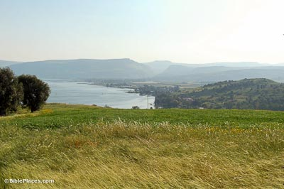 A green and yellow slope leading down to hills on the right and the Sea of Galilee on the left, mountains are in the hazy distance