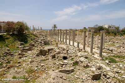 Tyre, al-Mina site, Roman agora view to sea from northeast, adr090508606
