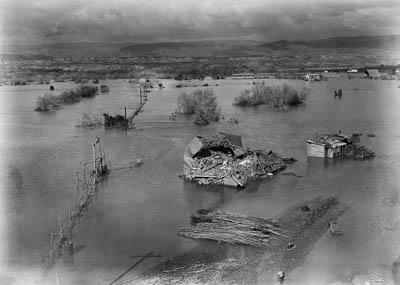 Jordan River, flood covering area by Allenby Bridge