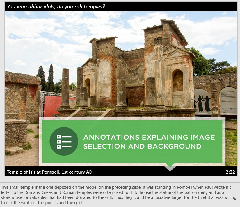 Romans slide with annotation