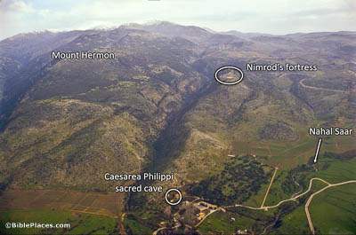 Foothills and valleys leading down mountains to a green plain, with labels identifying Mount Hermon, Nimrod's fortress, Nahal Saar, and the sacred cave at Caesarea Philippi