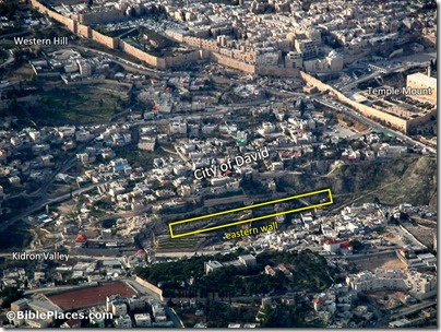 City of David aerial from east, tb010703201-labeled